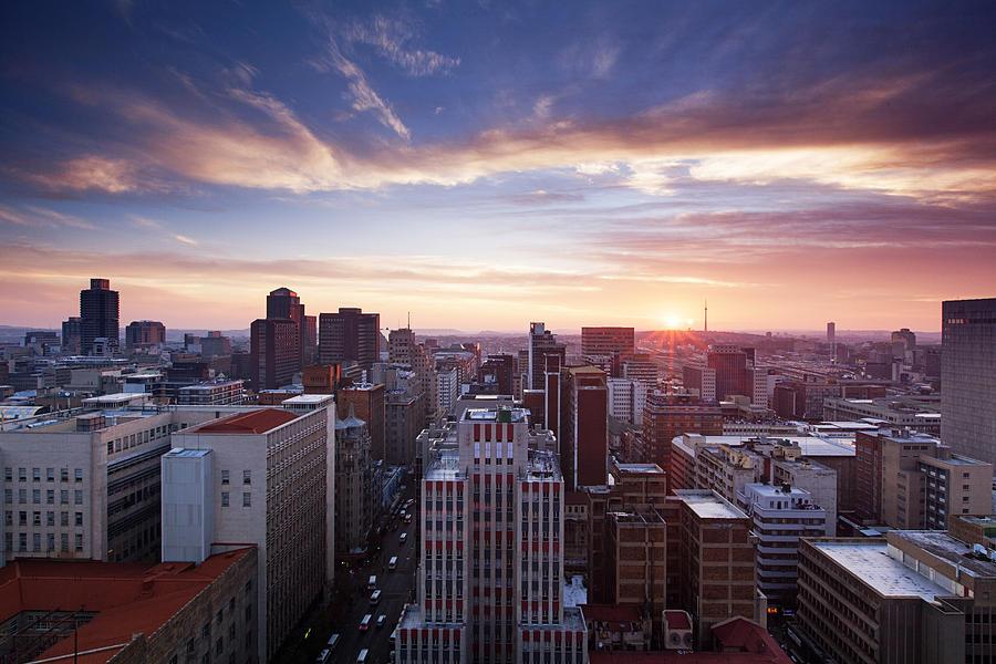 Skyline of Johannesburg city center, Johannesburg, Gauteng Province, South Africa Photograph by BFG Images