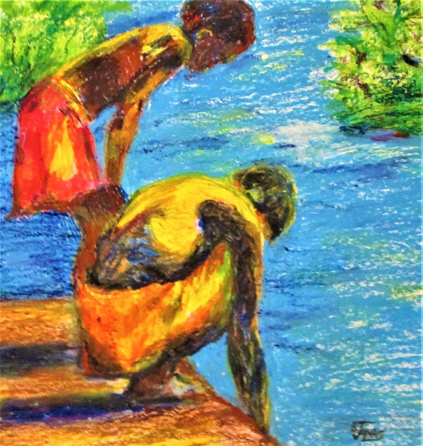 Figure Painting - Island Boys by B Janas