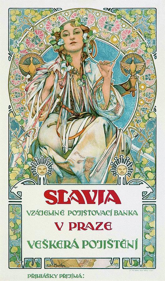 Alphonse Mucha Painting - Slavia 1907 Mucha Art Nouveau Poster by Alphonse Mucha