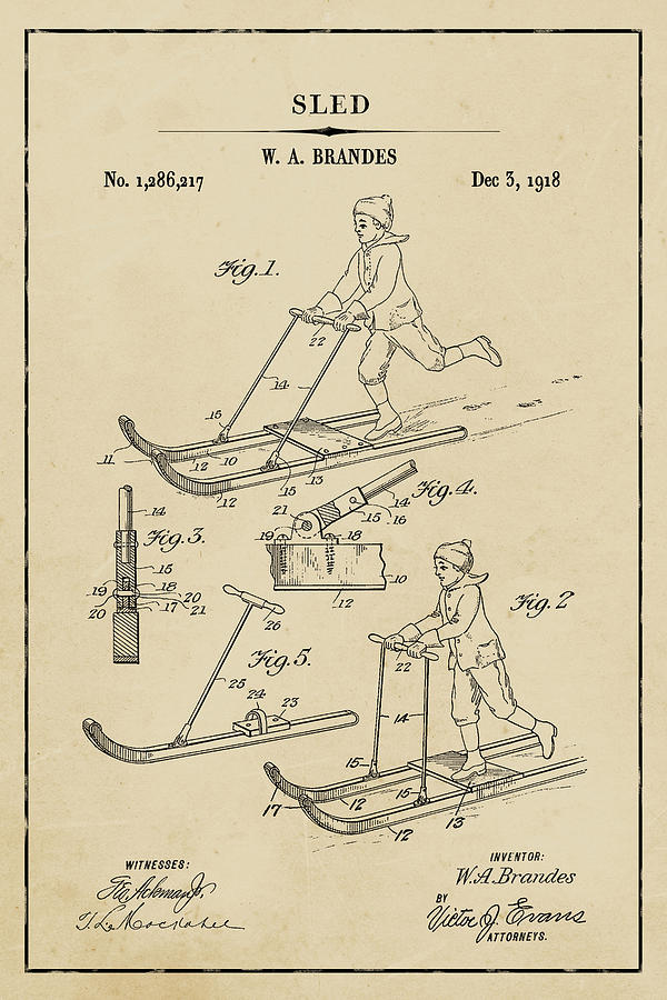 Sled Blueprint Patent on Aged Paper Winter Patent Art by Florian Rodarte