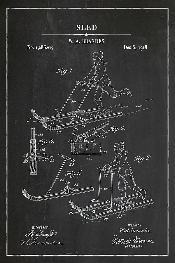 Sled Skate Blueprint Patent in Chalk Winter Patent Art by Florian Rodarte