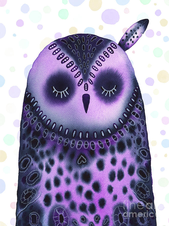 Sleeping Baby Owl On Dots Painting