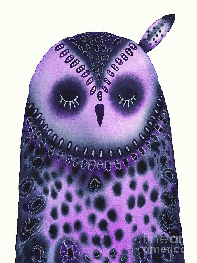 Sleeping Baby Owl Painting
