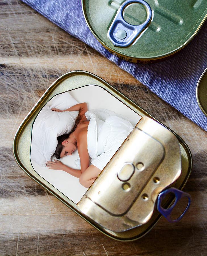 Sleeping Woman In Sardines Can Surreal Digital Art