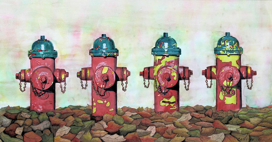 Fire Hydrants Painting - Slow Metamorphosis Thru Time by Cory Clifford