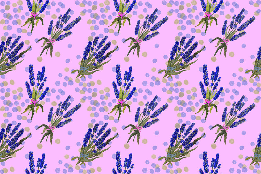 Small Bouquets Of Lavender On Pink Background With Polka Dots Watercolor Seamless Pattern Drawing