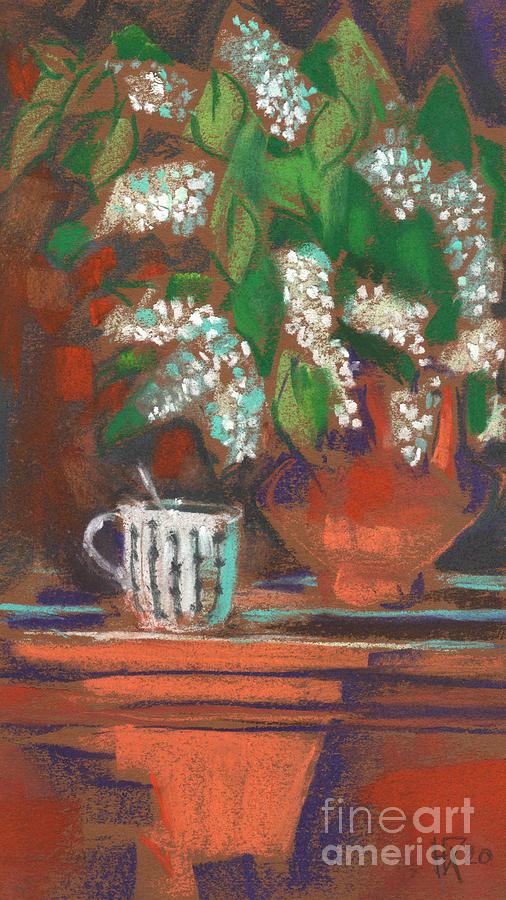Bird Cherry Painting - Small Still Life with Bird Cherry by Julia Khoroshikh