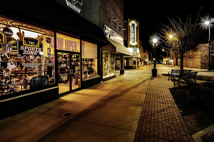 Small Town Storefronts At Night Photograph