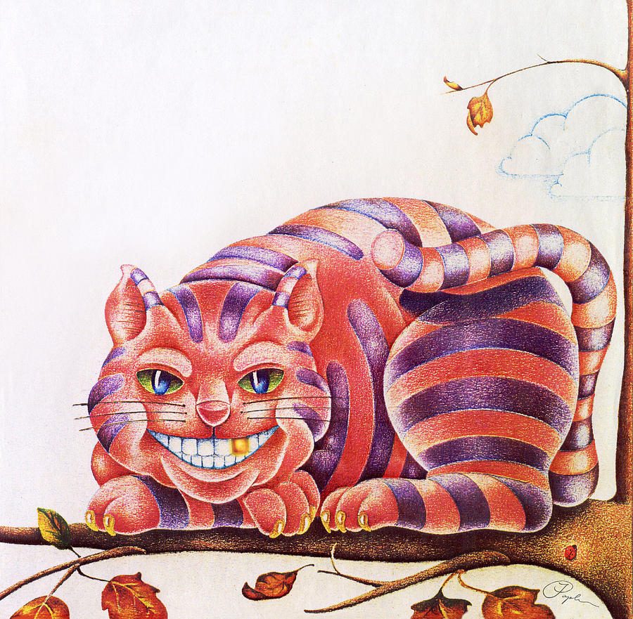 Smiling Cheshire Cat With Gold Tooth Drawing By Jeff Poplar