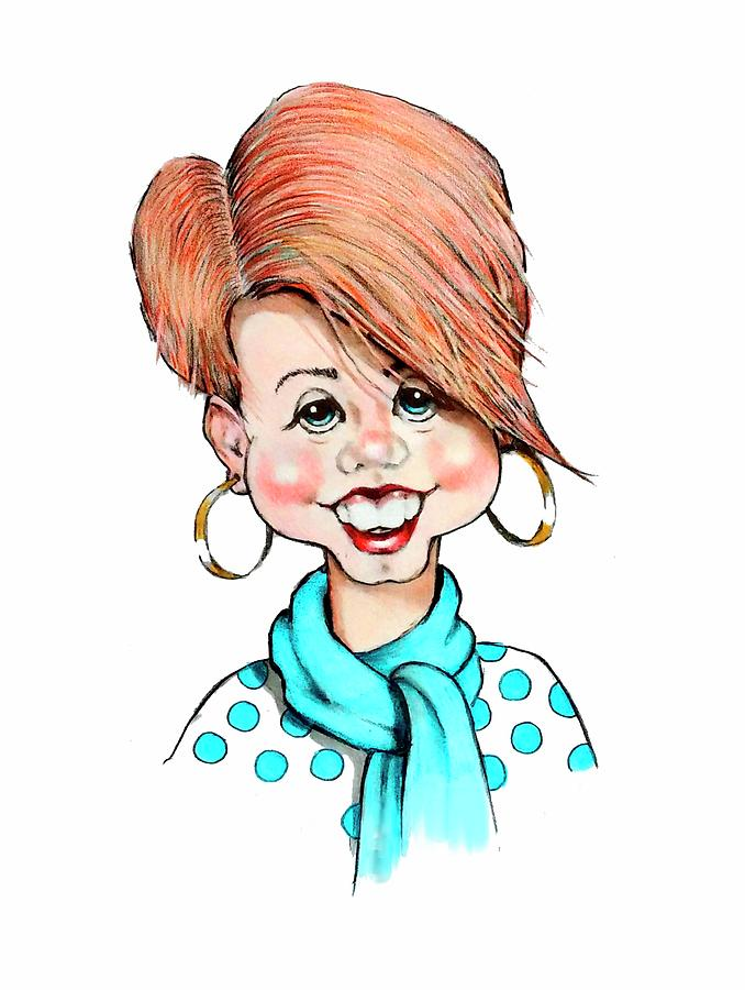 Smiling Woman Caricature Drawing