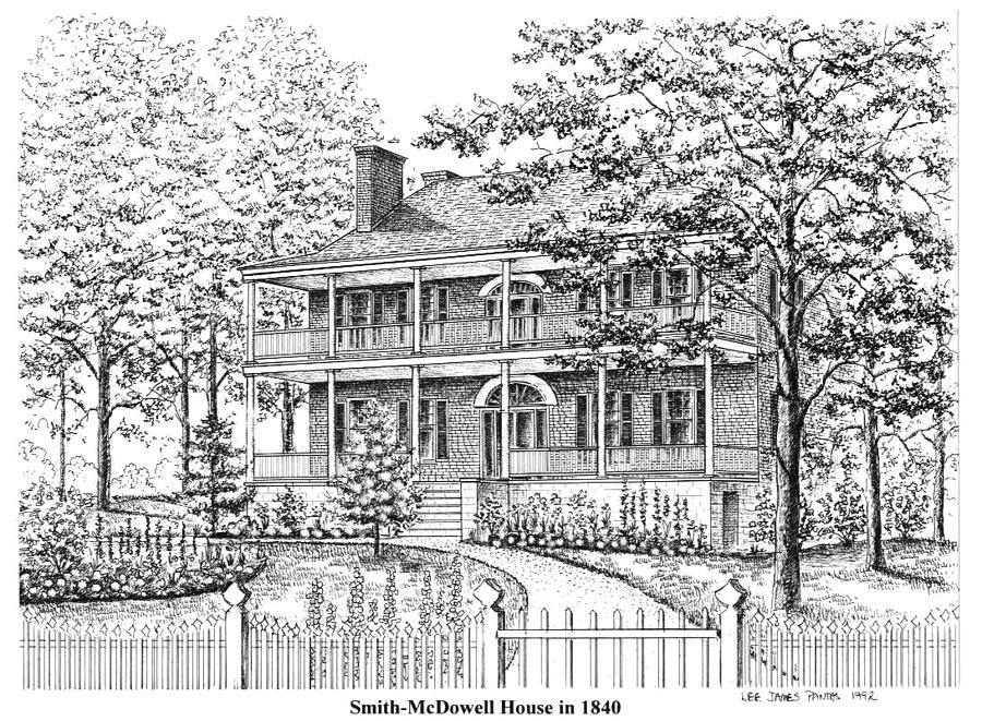 Asheville Drawing - Smith-McDowell House in 1840 by Lee Pantas