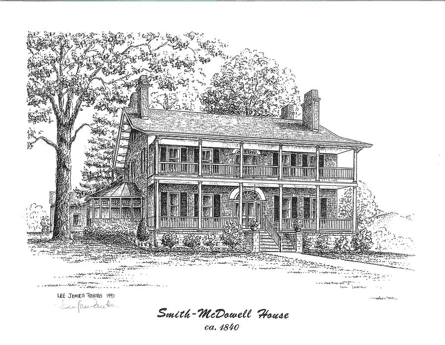 Smith-McDowell House Drawing by Lee Pantas