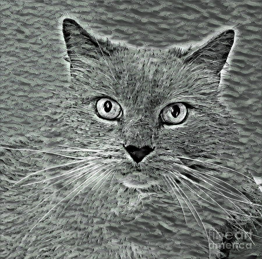 Cat Mixed Media - Smokey by PurrVeyor Com by dep Arts