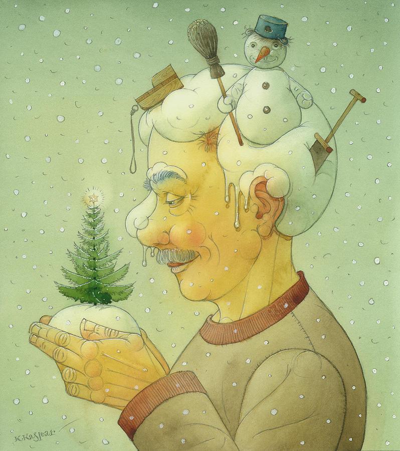 Snovy Winter Painting by Kestutis Kasparavicius