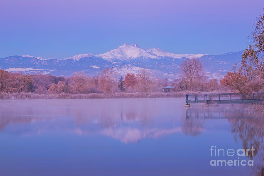 Snow Capped Longs Peak Reflection by Ronda Kimbrow