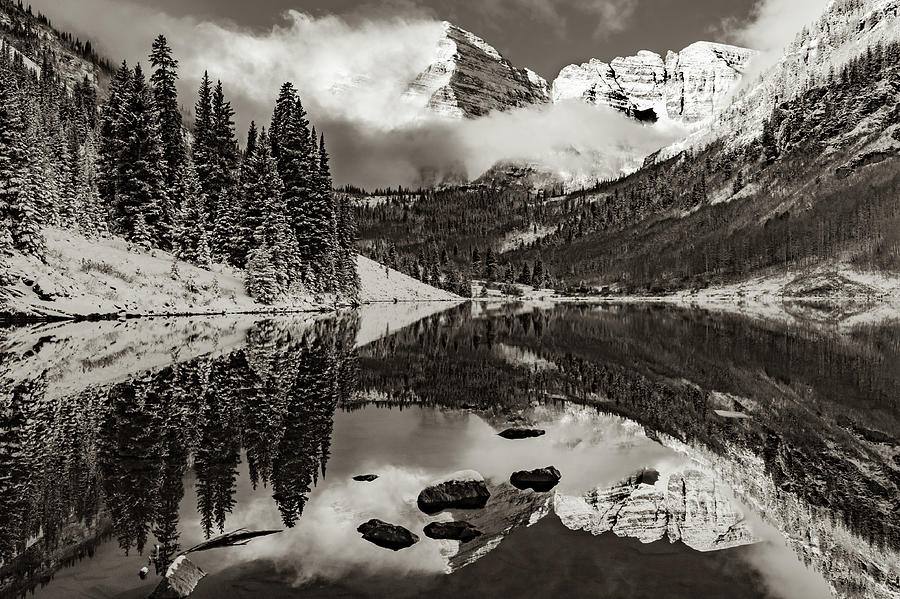 Snow Capped Peak Reflections Of Aspens Maroon Bells In Sepia Photograph