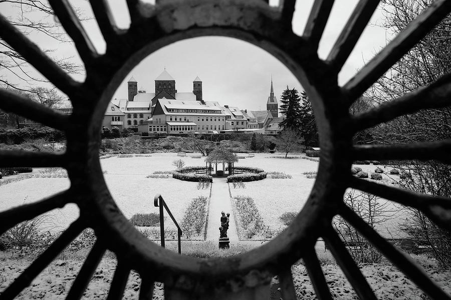Snow Covered Garden Through The Gate Photograph