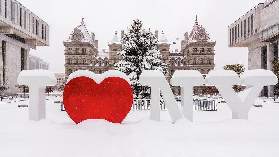 I Love Ny Photograph - Snow Day by Brad Wenskoski