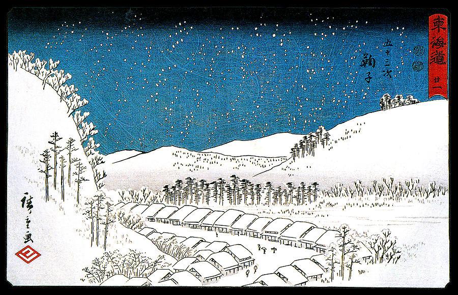 Utagawa Painting - Snow Falling on a Town Mariko1851 by Utagawa Hiroshige