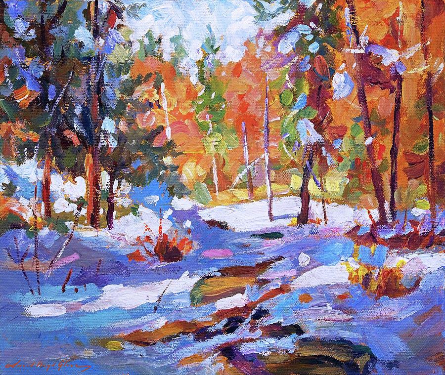 Snow Fell At The Creek Plein Air Painting