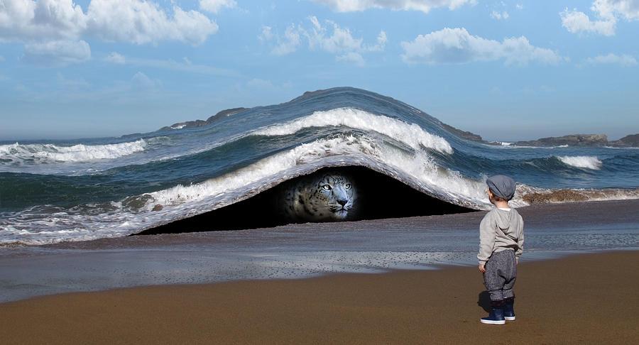 Snow Leopard And Beach Surreal Digital Art
