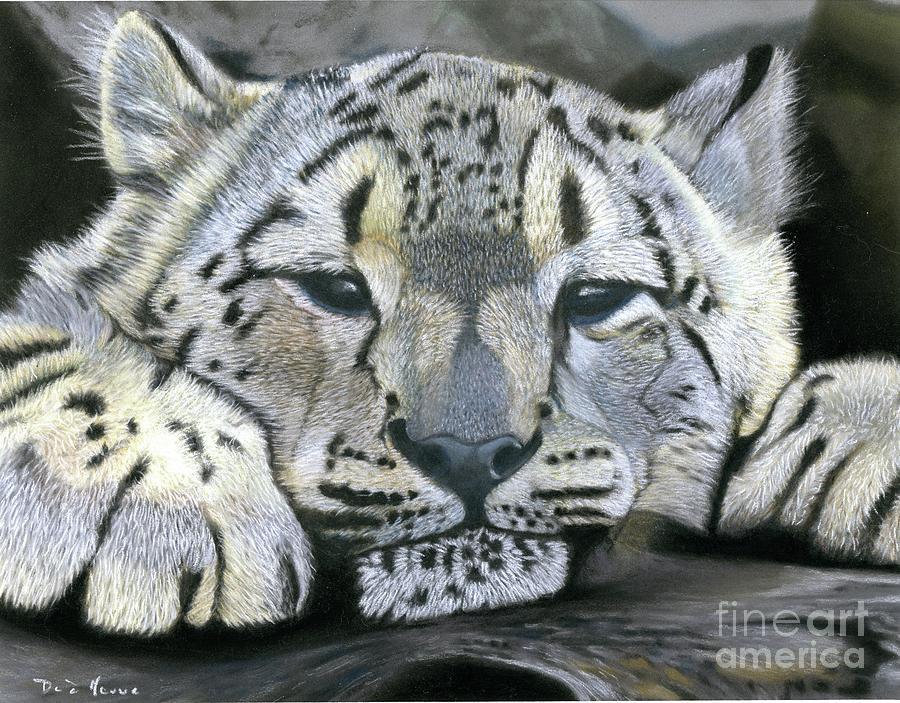 Snow Leopard Cubs Pastel - Snow Leopard Cub Pastel Painting by Dave Nevue