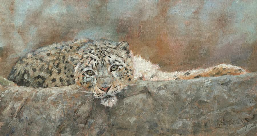 Snow Leopard Resting Painting