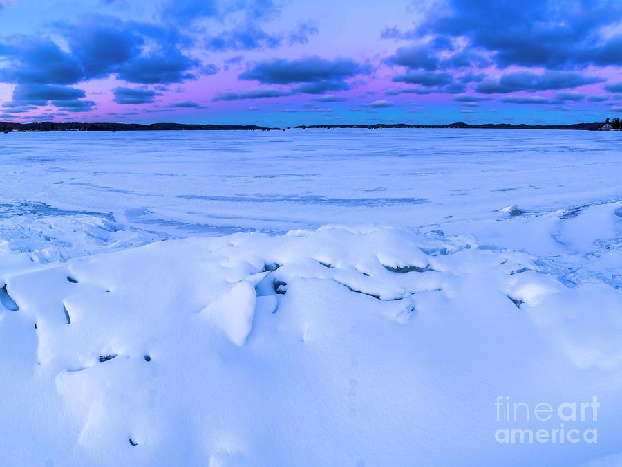 Snow On Portage Lake Photograph