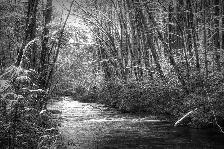 Snow on the River Black and White by Debra and Dave Vanderlaan