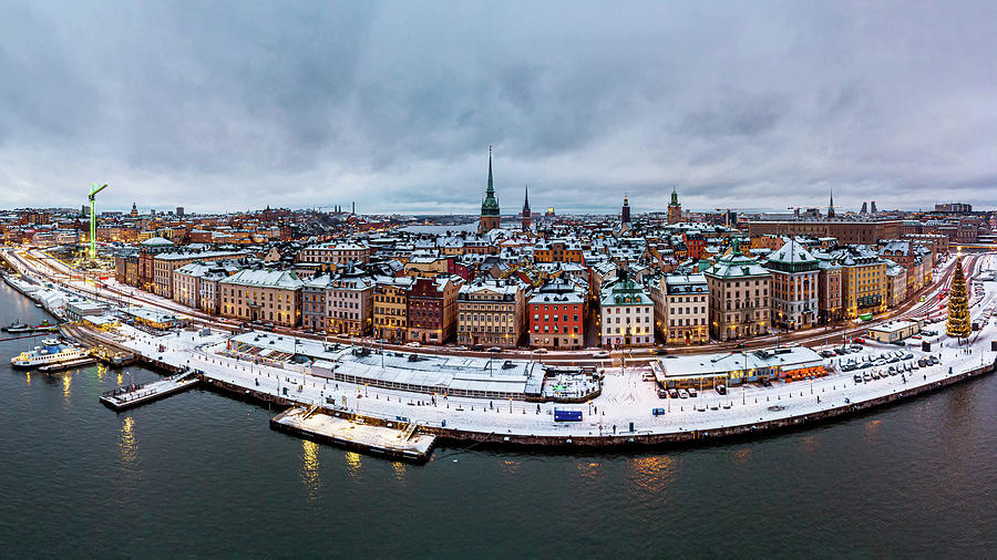 Snow Photograph - Aerial view of snowy Gamla Stan rooftops by Dejan Kostic