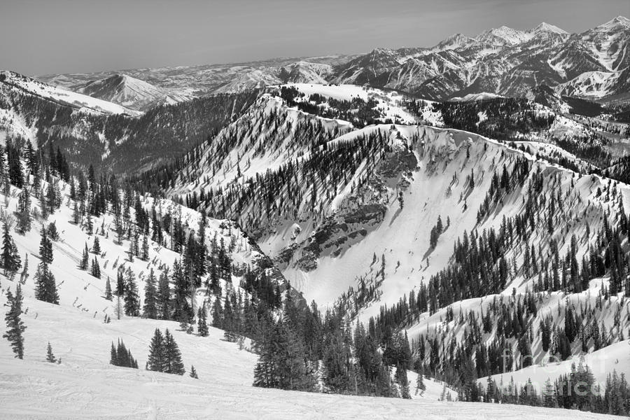 Snowbird Backside Views Black And White by Adam Jewell