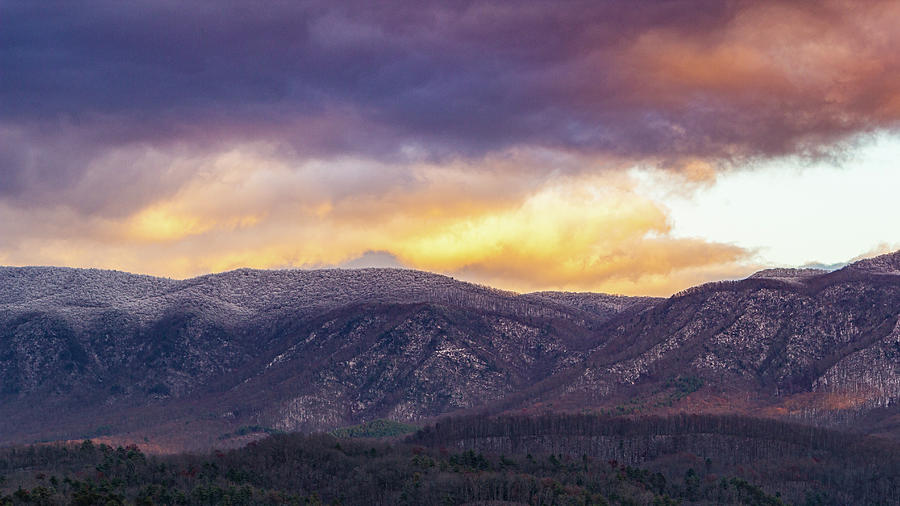 Snowcapped Holston Mountain at Sunset by Greg Booher