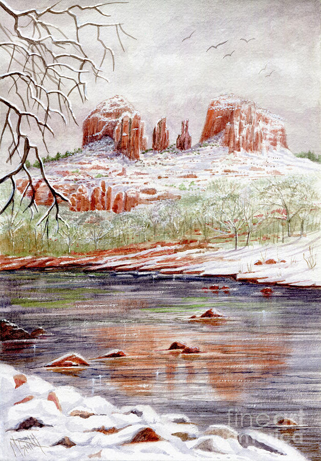 Snowfall At Red Rock Crossing by Marilyn Smith
