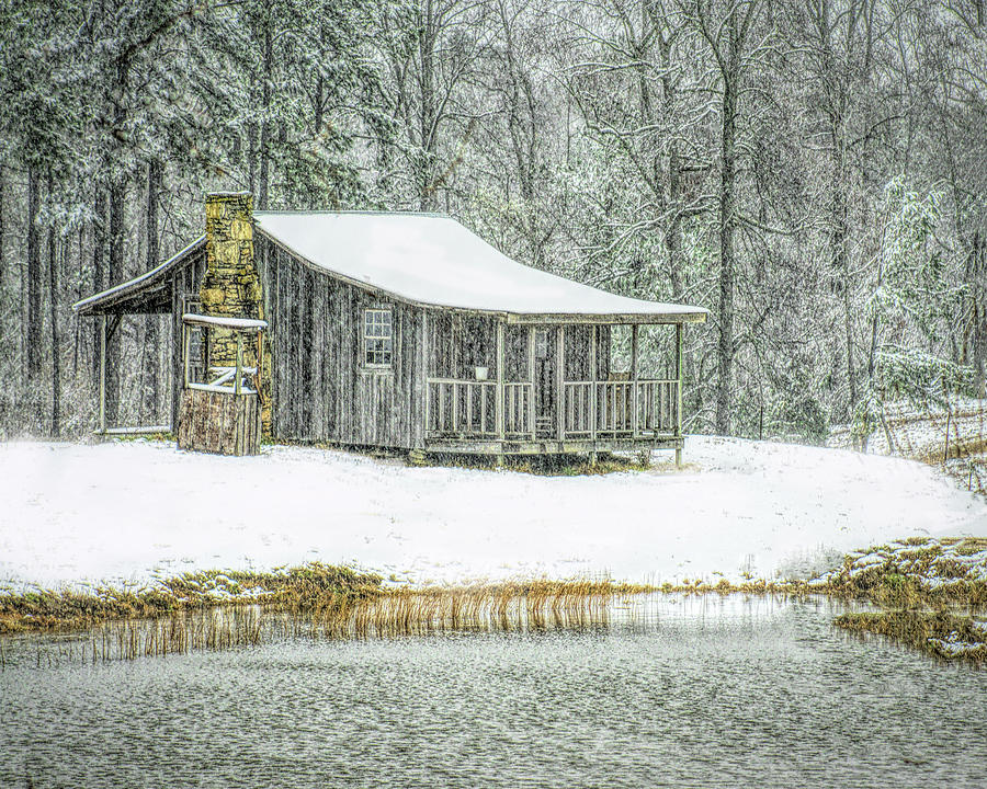 Snowing At The Cabin Photograph