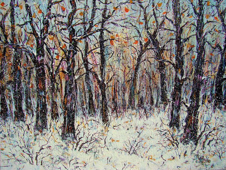 Landscape Painting - Snowing In The Forest by Natalie Holland