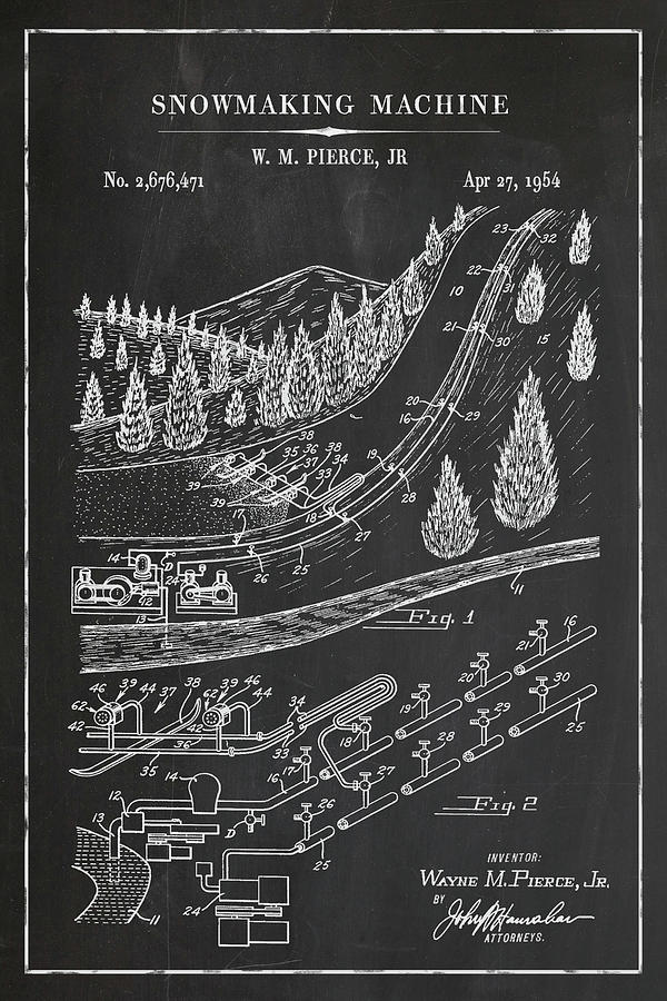 Snowmaking Machine Skate Blueprint Patent in Chalk Winter Patent Art by Florian Rodarte