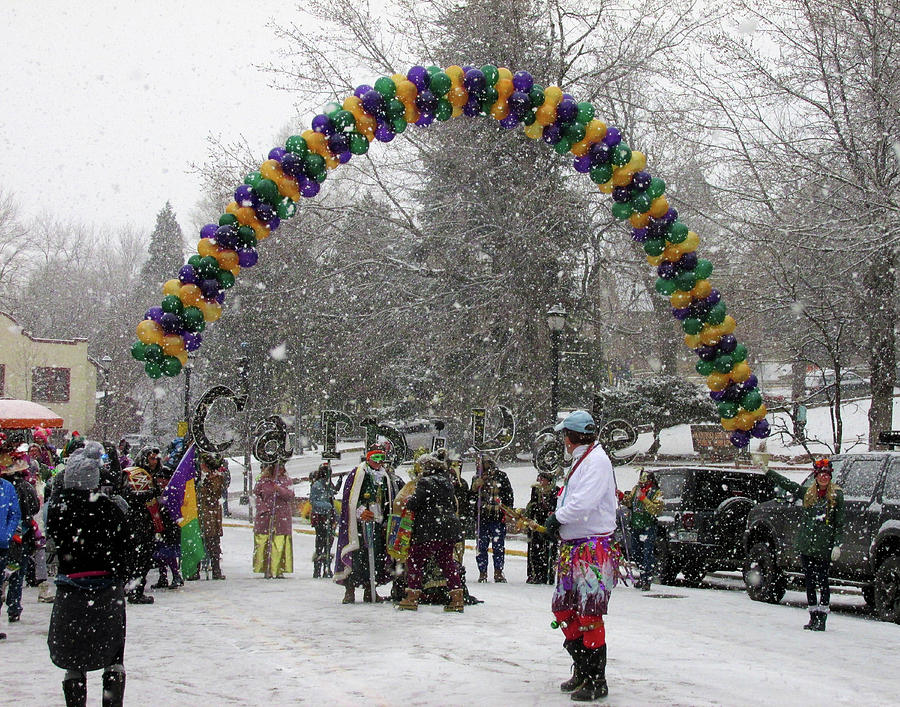 Snowy Carnivale in Manitou Springs Colorado by Julia L Wright