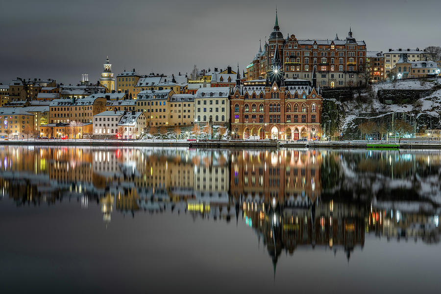 Stockholm Photograph - Snowy, dreamy island reflection in Stockholm  by Dejan Kostic