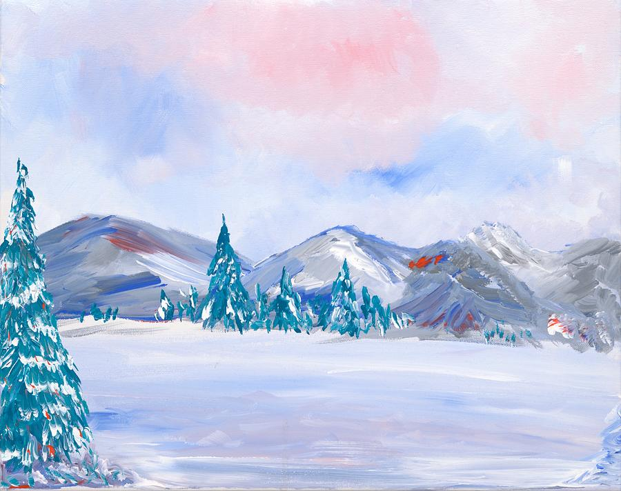 Snow Painting - Snowy Mountains by Britt Miller