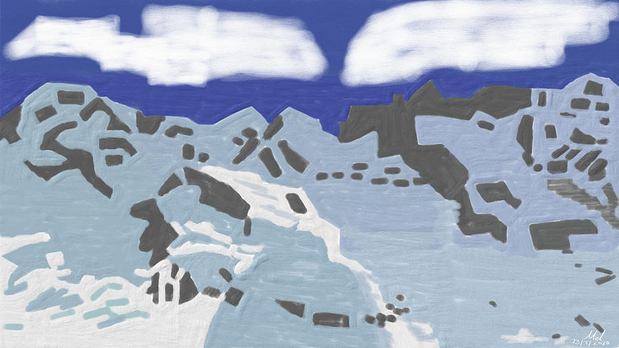 Abstract Landscape Of Snowy Mountains Digital Art
