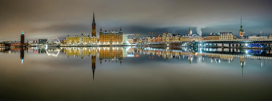 Stockholm Photograph - Snowy Stockholm City Hall and Gamla Stan reflection with clouds by Dejan Kostic
