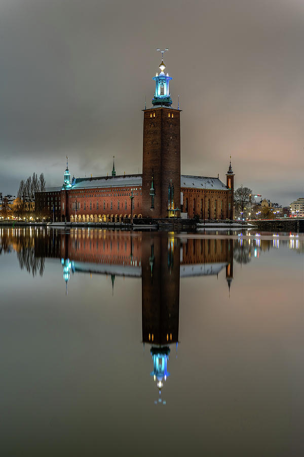 Stockholm Photograph - Snowy Stockholm City Hall Night Reflection by Dejan Kostic