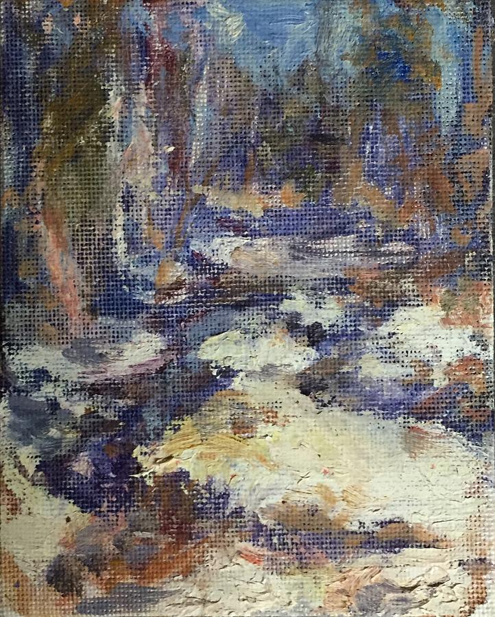 Snowy Stream, Mt Hood, Plein Air, Original Impressionist Art by Quin Sweetman