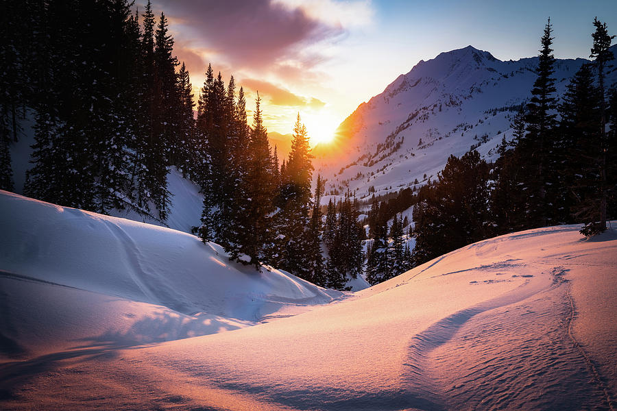Snowy Sunset In Little Cottonwood Canyton Photograph