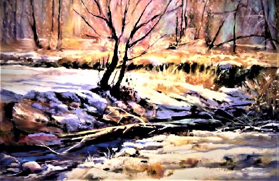 Snowy Winter Painting by Joseph Barani