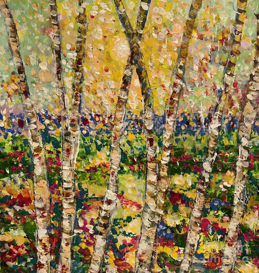 Birch Trees Painting - So Close by Jacqui Hawk