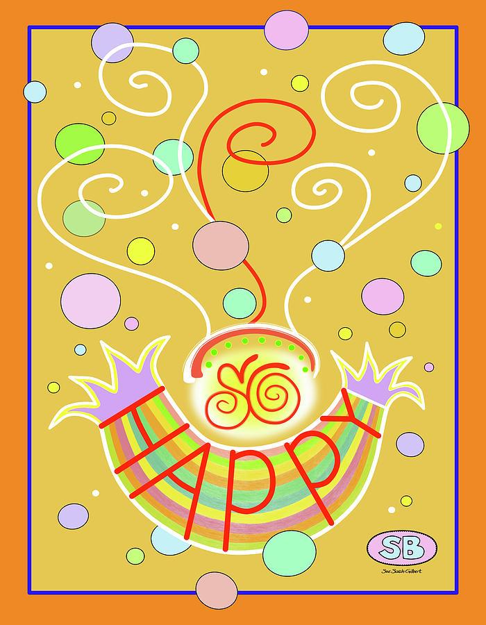 Bubbles Digital Art - So Happy by Susan Bird Artwork