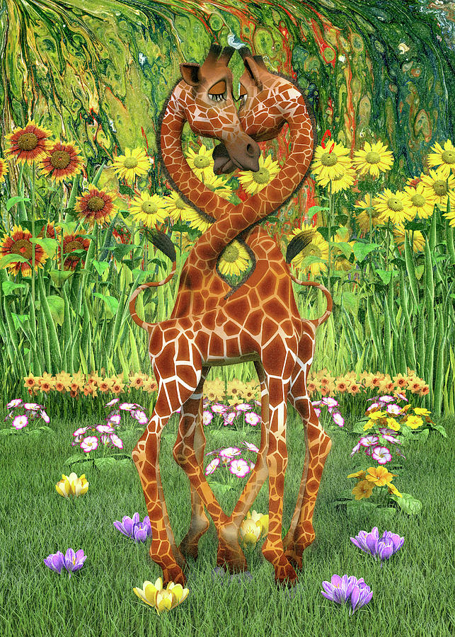So In Love Giraffes Digital Art