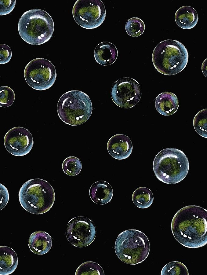 Soap Bubbles On Black Drawing