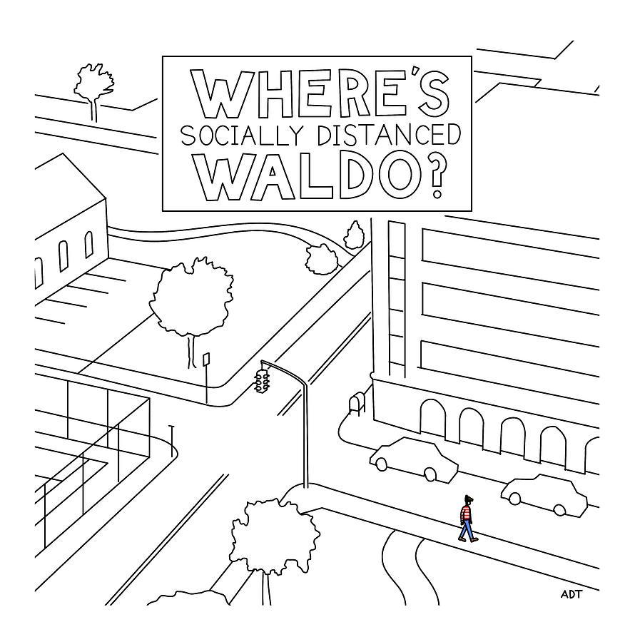 Social Distanced Waldo Drawing by Adam Douglas Thompson